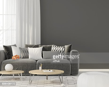 Living room with a gray sofa : Stock Photo