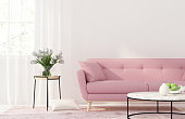 3D illustration. Interior of the living room with a pink sofa