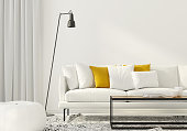 3D illustration. Modern interior of the living room with a white sofa