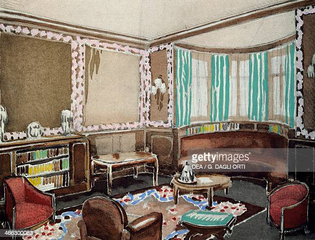 Living room with bay window drawing by Mariey Louis Sue and Andre Mare from Arts de la Maison Art deco