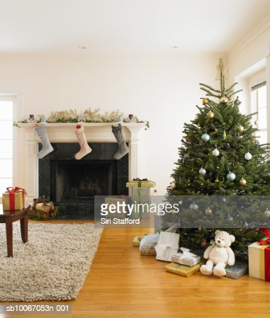 Christmas Tree Living Room christmas tree in living room stock photo | getty images