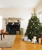 Living room with Christmas tree and Christmas stocking hanging