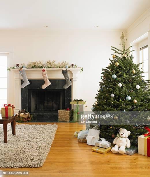 Living room with Christmas tree and Christmas stocking hanging
