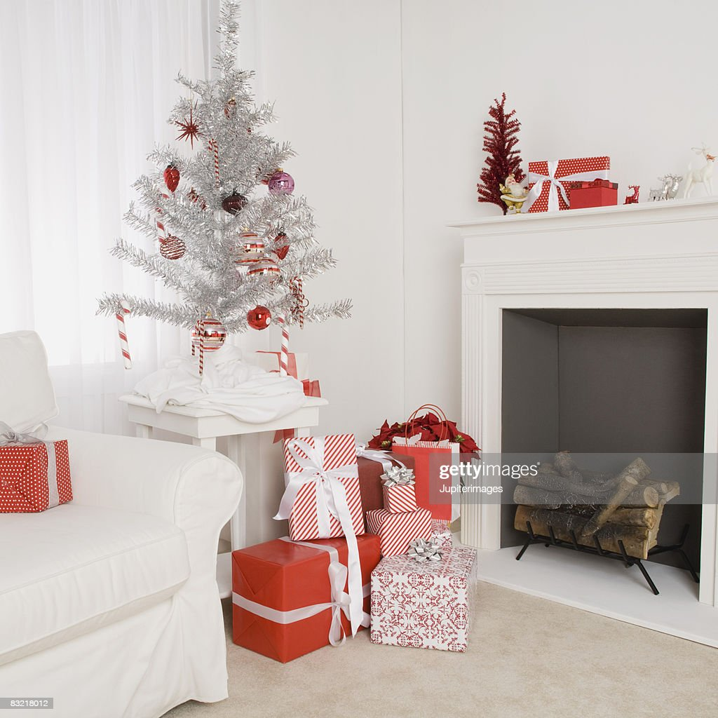 Living Room With Christmas Tree And Decorations Stock ...