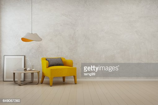 Living room with empty concrete wall background in modern house : Stock Photo