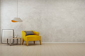 3D rendering of interior with yellow armchair, coffee table and lamp