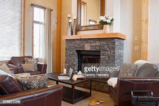 Living room with fire place : Stock Photo
