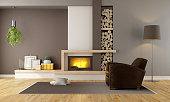 Brown lounge with minimalist  fireplace and vintage armchair - 3D Rendering