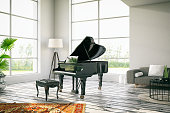 White loft interior with a black piano