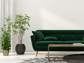 3D illustration. Interior of the living room with green sofa
