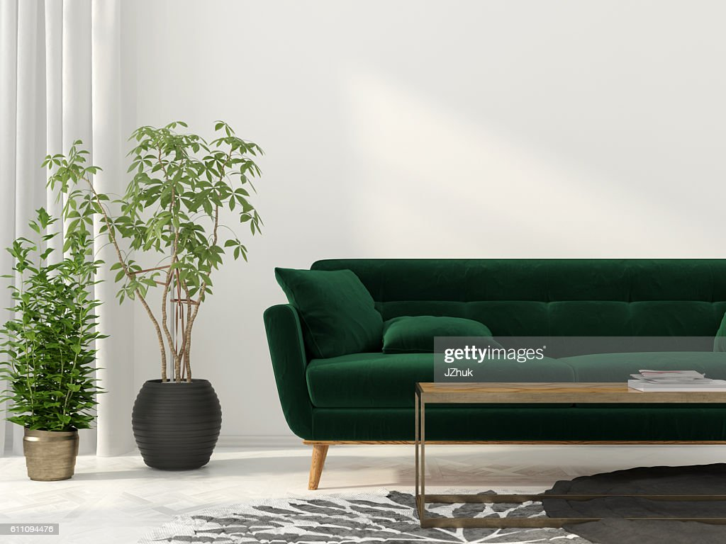 Living Room With Green Sofa : Stock Photo