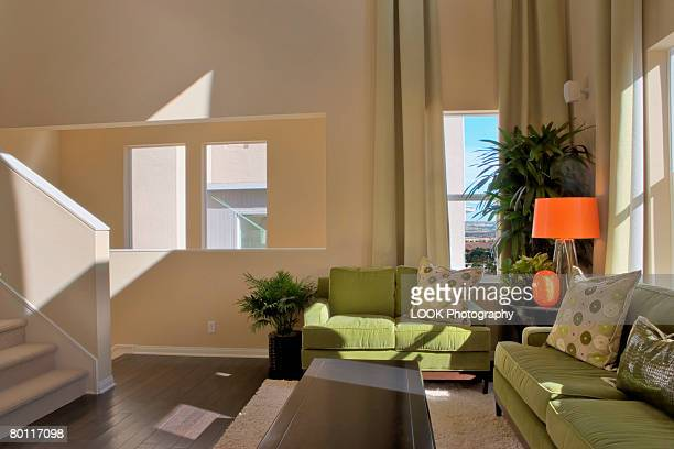Living Room with Green Suede Sofas