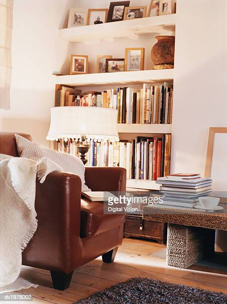 Living Room With Leather Armchair and Book Shelves