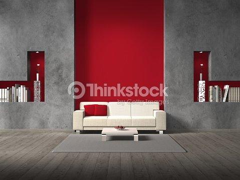 Wohnzimmer Mit Rote Wand Hinter Dem Sofa Stock-Foto - Thinkstock