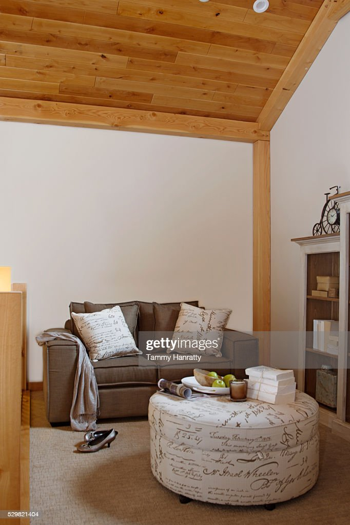 Living room with round table : Stock Photo