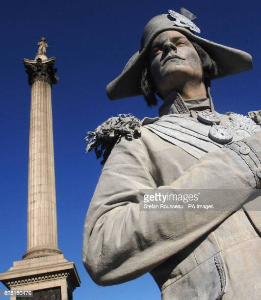 A 'living statue' of Admiral Lord Nelson stands in front of Nelson's Column in London's Trafalgar Square Thursday October 20 ahead of this weekend's...