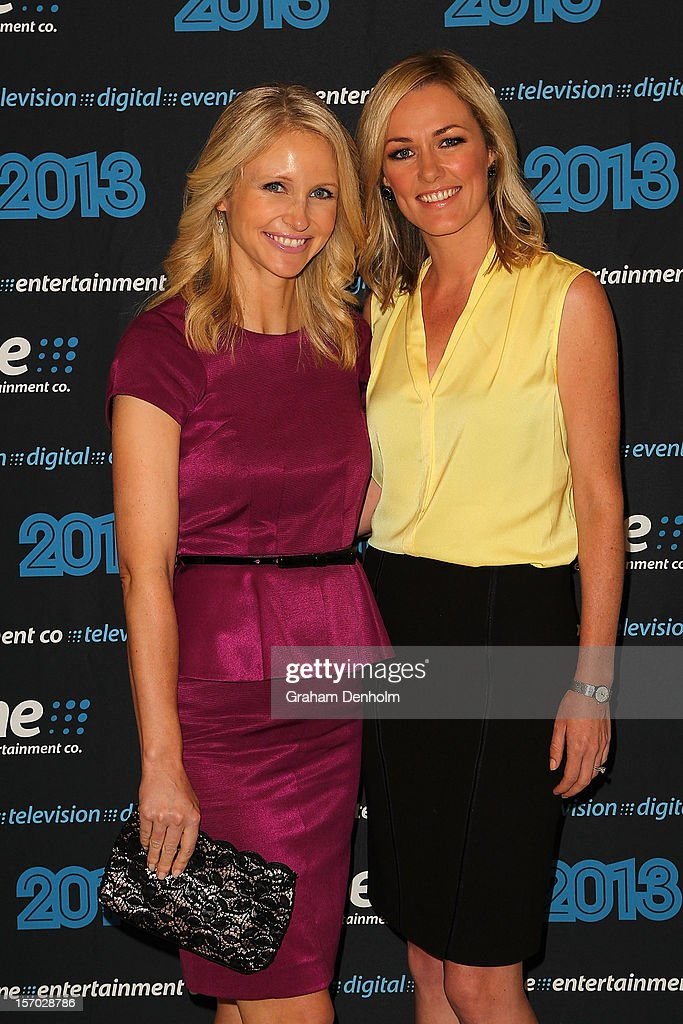 Livinia Nixon (L) and Alicia Loxley pose as they arrive at the Nine 2013 program launch at Myer on November 28, 2012 in Melbourne, Australia.
