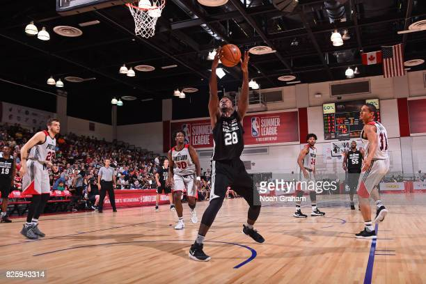 Livio Jean Charles of the San Antonio Spurs grabs a rebound during the 2017 Las Vegas Summer League game against the Portland Trail Blazers on July...