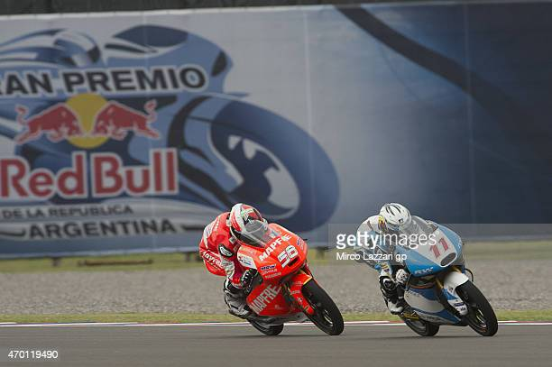 Livio Loi of Belgium and RW Racing GP leads the field during the MotoGp of Argentina Free Practice on April 17 2015 in Rio Hondo Argentina