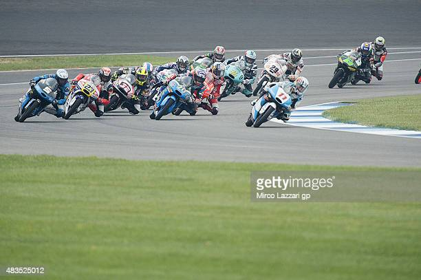 Livio Loi of Belgium and RW Racing GP leads the field during the Moto3 race during the MotoGp Red Bull US Indianapolis Grand Prix Race at...