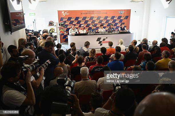 Livio Suppo of Italy and Repsol Honda Team Andrea Iannone of Italy and Energy TI Pramac Racing Team Jorge Lorenzo of Spain and Yamaha Factory Racing...