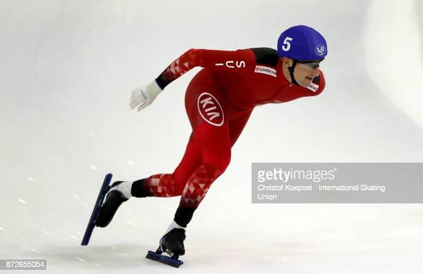 Livio Wenger of Switzerland competes during the men massstart second semifinal on Day One during the ISU World Cup Speed Skating at the Thialf on...