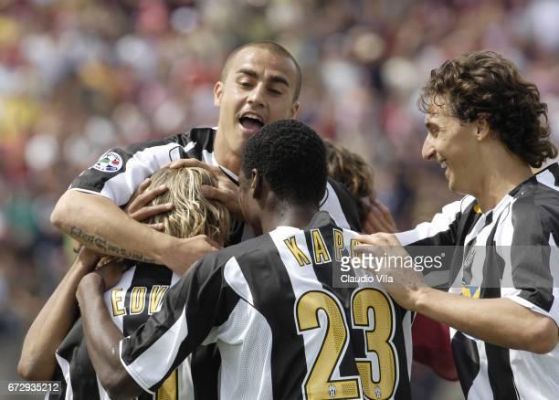 Pavel Nedved Fabio Cannavaro Kapo and Zlatan Ibrahimovic of Juventus FC celebrate during the Serie A 37th round match between Livorno vs Juventus of...