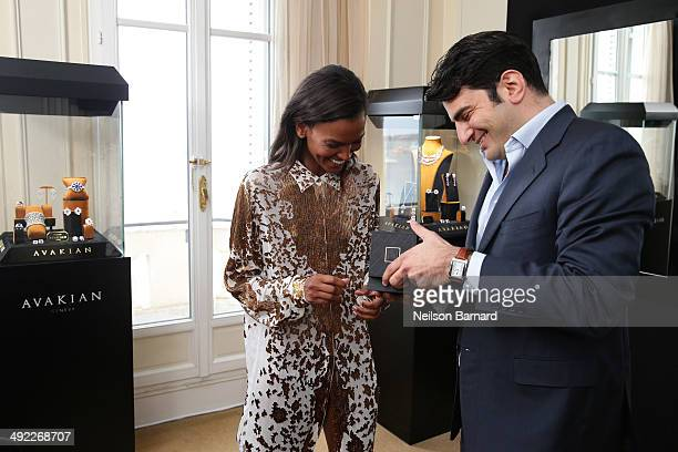 Liya Kebede and Haig Avakian visit The Avakian Suite on May 19 2014 in Cannes France