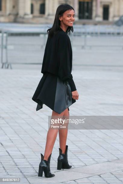 Liya Kebede arrives at the Louis Vuitton show as part of the Paris Fashion Week Womenswear Fall/Winter 2017/2018 on March 7 2017 in Paris France