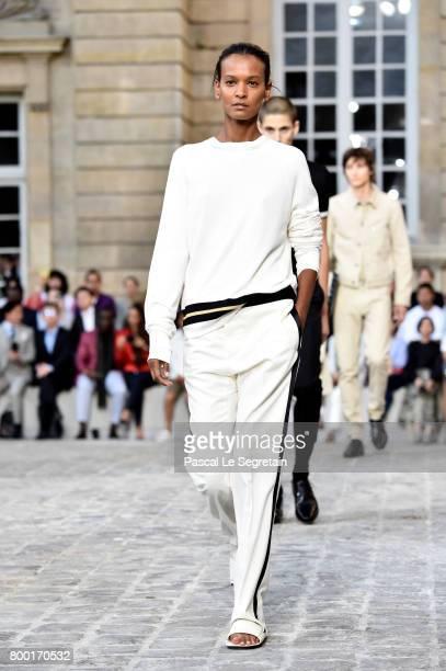 Liya Kebede walks the runway during the Berluti Menswear Spring/Summer 2018 show as part of Paris Fashion Week on June 23 2017 in Paris France