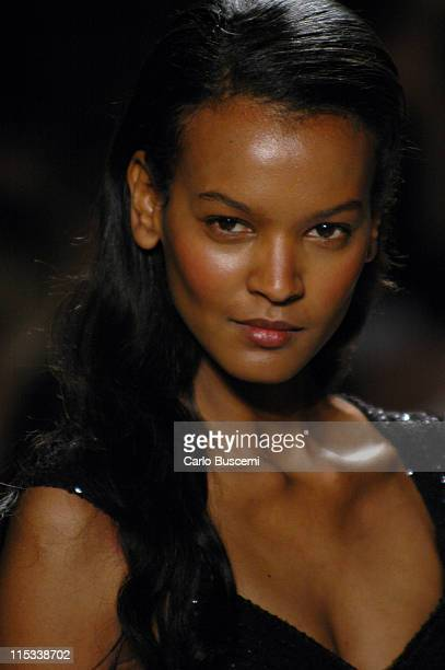 Liya Kebede wearing Michael Kors Fall 2005 during Olympus Fashion Week Fall 2005 Michael Kors Runway at The Tent Bryant Park in New York City New...