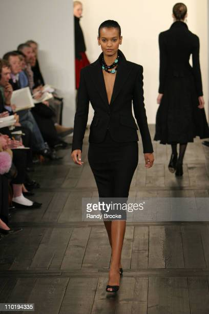 Liya Kebede wearing Ralph Lauren fall 2004 during Olympus Fashion Week Fall 2004 Ralph Lauren Runway at Dia Annex in New York City New York United...