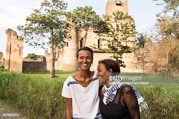 Liya Kebede with her mother is photographed for Paris Match on May 30 2014 in AddisAbaba Ethiopia