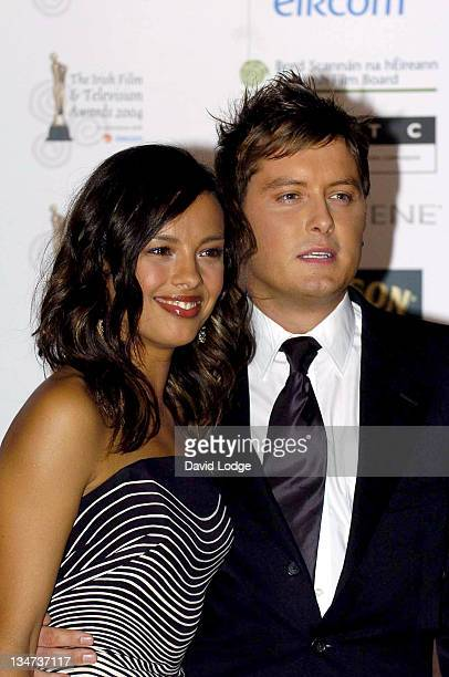 Liz Bonnin and Brian Dowling during The Irish Film and Television Awards 2004 Pressroom at The Burlington Hotel in Dublin Ireland