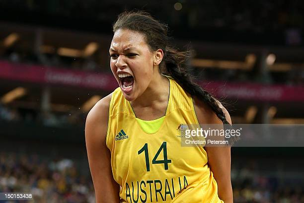 Liz Cambage of Australia reacts in the first half against Russia during the Women's Basketball Bronze Medal game on Day 15 of the London 2012 Olympic...