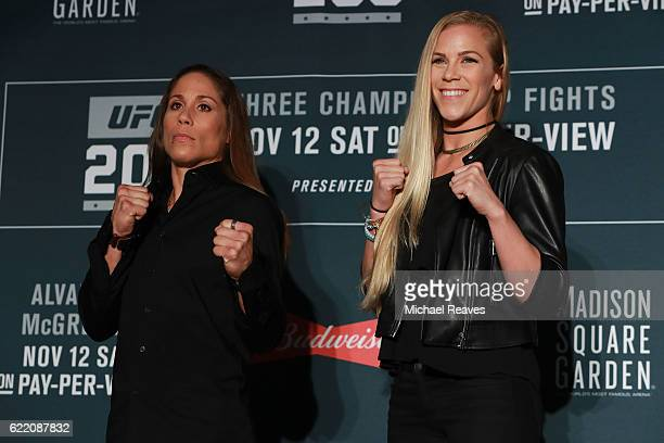 Liz Cartouche and Katlyn Chookagian square up for a photo during the UFC 205 Ultimate Media Day at The Theater at Madison Square Garden on November 9...