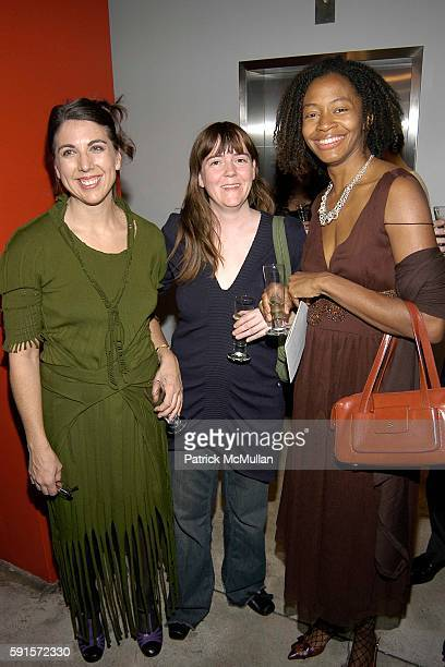 Liz Collins Lindsay Ackroyd and Kara Walker attend RISD and DKNY Launch OneOfAKind Cashmere Line at DKNY Madison Avenue on November 15 2005 in New...