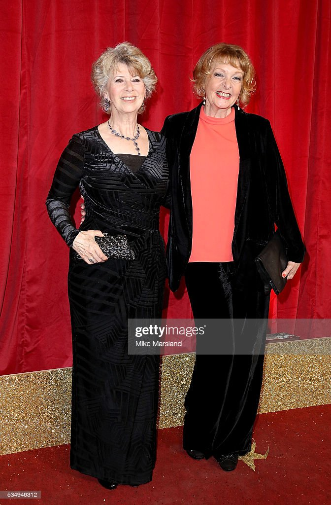 Liz Estensen (L) and Charlie Hardwick attend the British Soap Awards 2016 at Hackney Empire on May 28, 2016 in London, England.