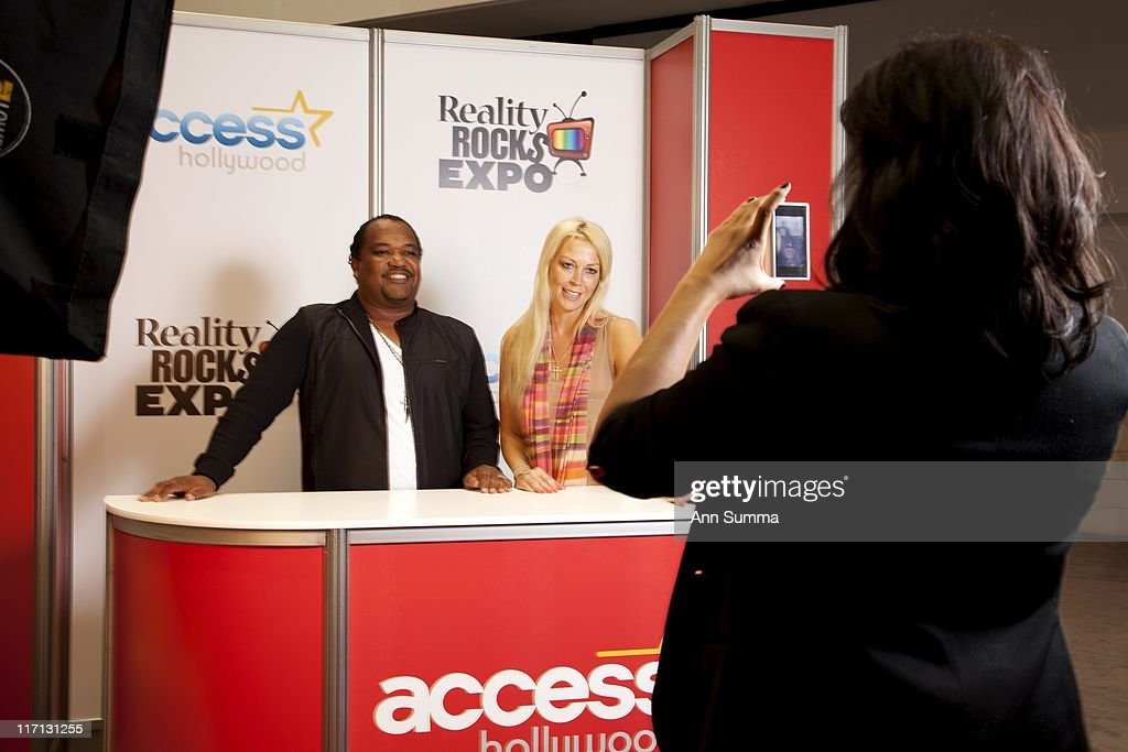Liz Fuller Dioona Vaugan and Don Nash are freelance hosts here filming themselves at the media booth at the LA Convention Center during the Reality...