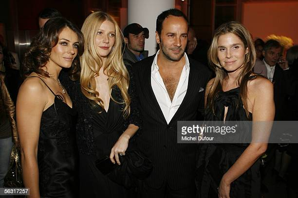 Liz Hurley actress Gwyneth Paltrow designer Tom Ford and Erin Lauder attend a cocktail party at Colette shop rue du Faubourg SaintHonore attended by...