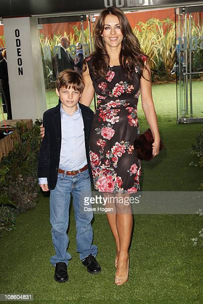 Liz Hurley and Damian Charles Hurley attend the UK premiere of Gnomeo And Juliet held at the Odeon Leicester Square on January 30 2011 in London...