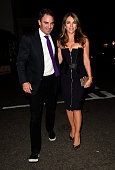 Liz Hurley arrives at Harry's Bar in Mayfair for Amanda Wakeley and British Vogue Dinner on September 7 2015 in London England