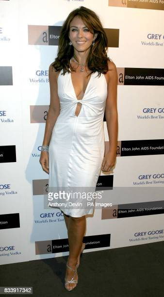 Liz Hurley arrives at the Grey Goose Vodka and The Elton John AIDS Foundation VIP launch party One Piazza Covent Garden London