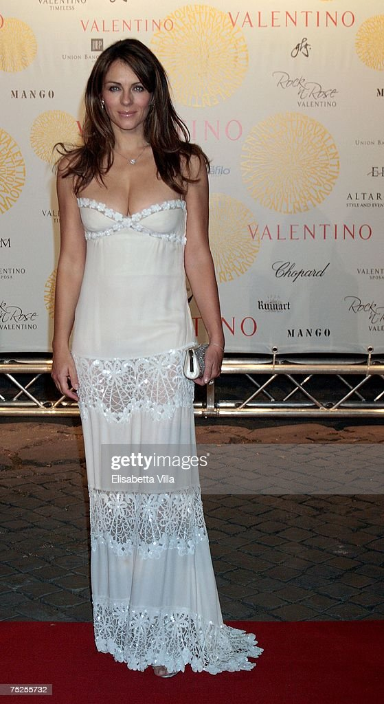 Liz Hurley arrives at the 'Valentino In Rome, 45 Years Of Style' post-exhibit gala dinner at the Temple of Venus in the Imperial Forum July 6, 2007 in Rome, Italy. Fashion icon Valentino decided to mark the celebration of the 45th anniversary of his luxury brand by breaking a 17-year tradition of unveiling his luxurious haute couture collections for women in Paris with a show in Rome.
