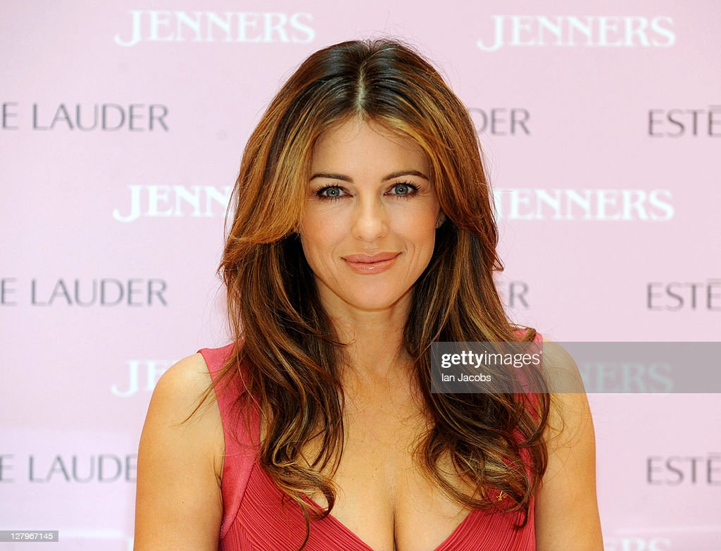 Liz Hurley makes a personal appearance to raise awareness for Breast Cancer Awareness Month at Jenners Edinburgh on October 4, 2011 in Edinburgh, Scotland.