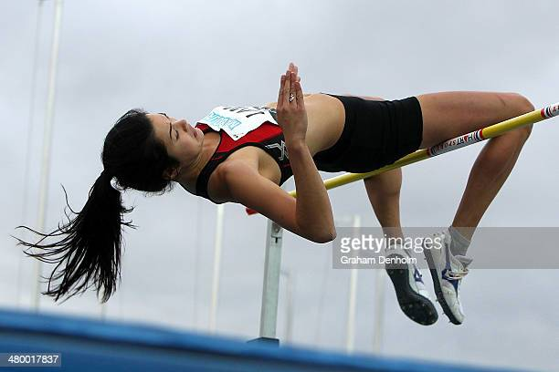 Liz Lamb of New Zealand competes in the Women's high jump open during the IAAF Melbourne World Challenge at Olympic Park on March 22 2014 in...