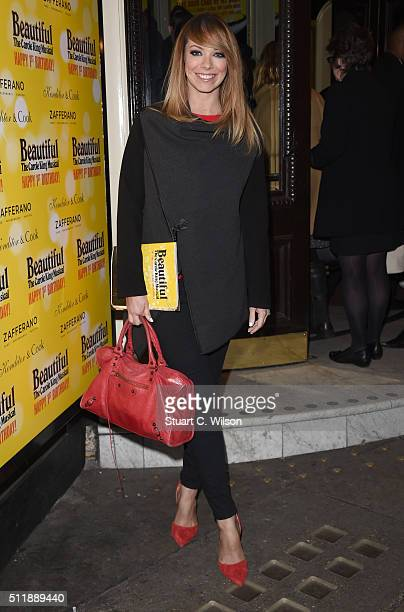 Liz McClarnon arrives at The Carole King Musical Birthday Celebrations at Aldwych Theatre on February 23 2016 in London England