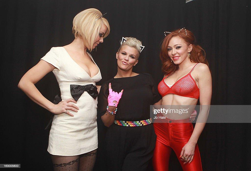 Liz McClarnon, Kerry Katona and Natasha Hamilton of Atomic Kitten pose backstage at G-A-Y on March 2, 2013 in London, England.
