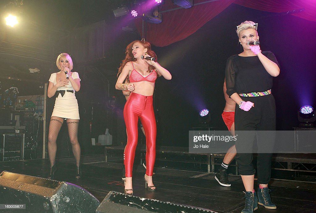Liz McClarnon, Natasha Hamilton and Kerry Katona of Atomic Kitten perform on stage at G-A-Y on March 2, 2013 in London, England.