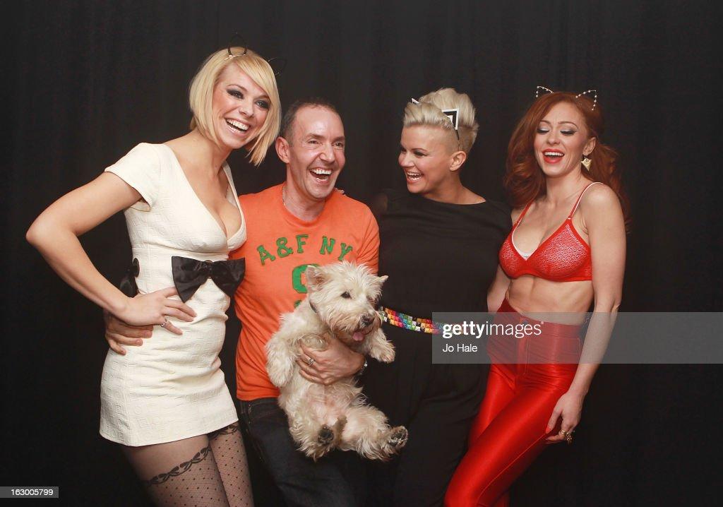 Liz McClarnon of Atomic Kitten with Jeremy Joseph, Hayley, Kerry Katona and Natasha Hamilton pose backstage at G-A-Y on March 2, 2013 in London, England.